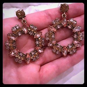 Lulu's gold, pink dangle hoops